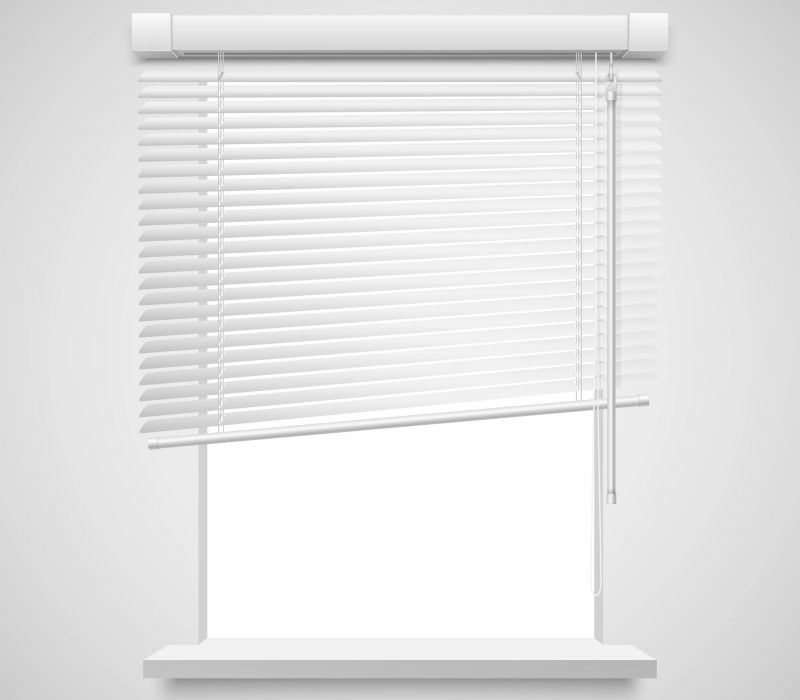 Realistic home related blinds vector illustration isolated on white.